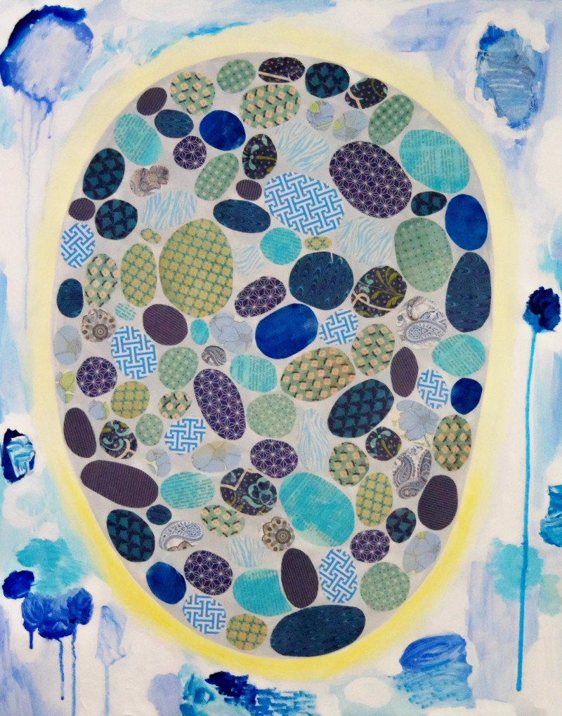 "Blue Hole, 24""x30"", Acrylic & Mixed Media on Birch Panel, 2013"
