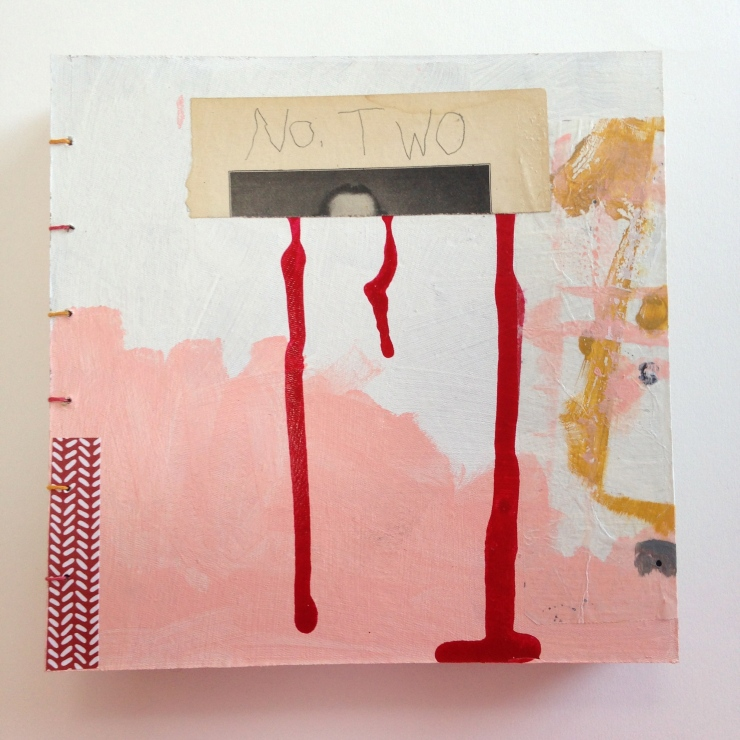 "No. Two, 8""x8""x1.5"", Acrylic paint, ink, graphite, decorative paper, waxed paper, Mixed media book with Paired Needle binding, 2015"